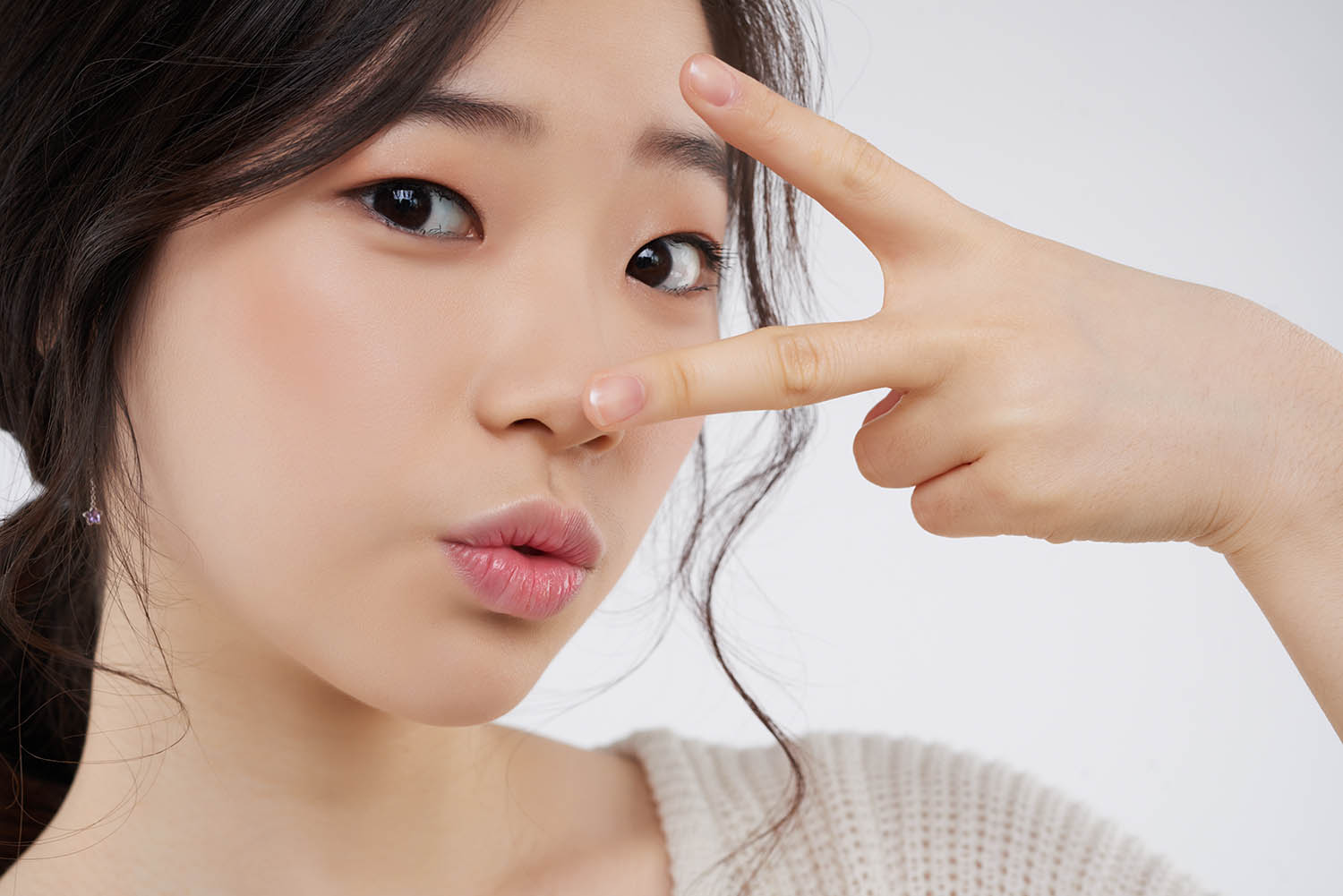 Face of attractive Korean woman with beauty eyes